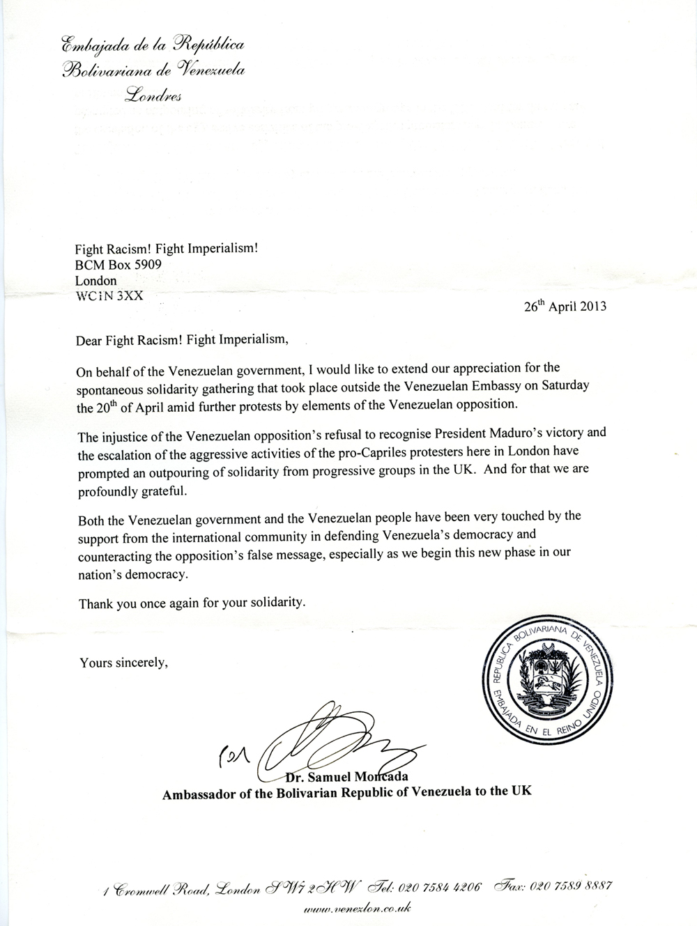 Letter from the Venezuelan embassy
