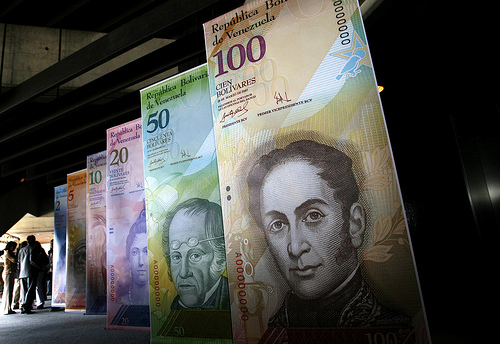 display of Venezuelan bank notes