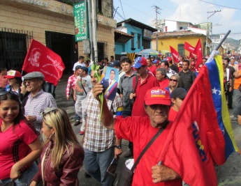 Chavistas marched from their barrios to join commemoration events