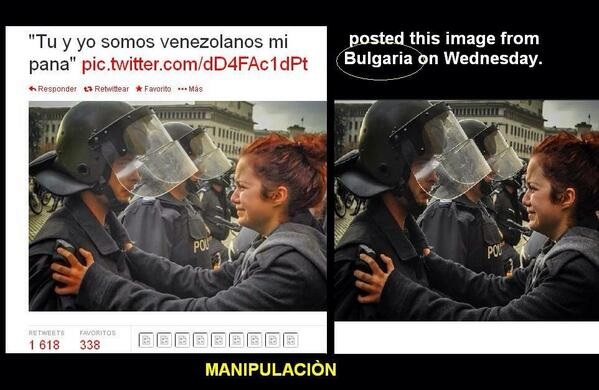 Media manipulation-this photo is actually from Bulgaria but the quote on the right reads you and I are Venezuelans my friend