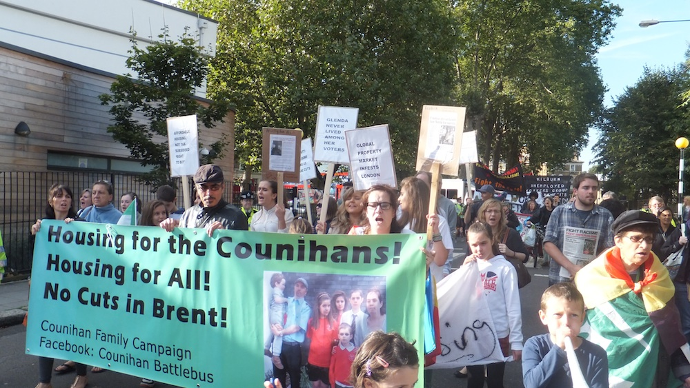 Counihan-Sanchez family march with supporters through Kilburn