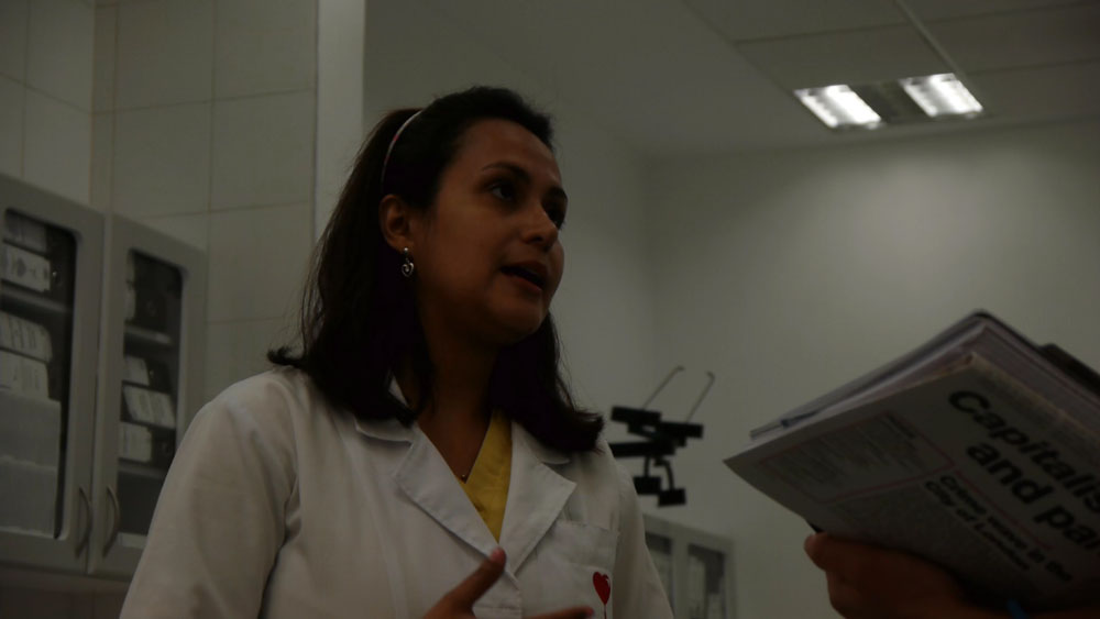 Haemotherapist Faviola Gonzalez interviewed by the RCG delegation