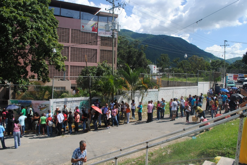 Voters cue at a recent election test run (Venezuelanalysis)