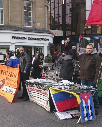 linking the fight against austerity in Britain to the fight for socialism in Venezuela