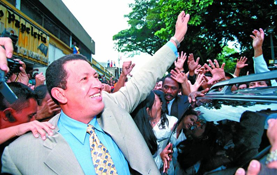 1998: Hugo Chávez wins election with 56.20 percent