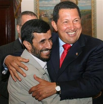 Presidents Hugo Chavez and Ahmadinejad