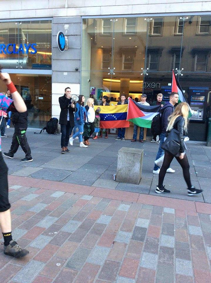 Glasgow RCG stand in solidarity with Palestine and Venezuela