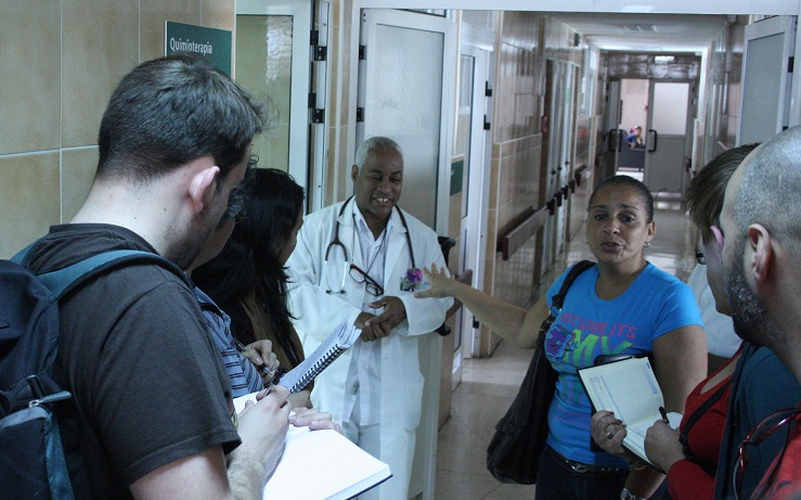 The brigade visits a cancer ward in Havana