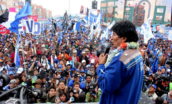 Evo Morales election rally in 2014
