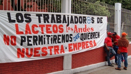 Worker protest at Lacteos los Andes