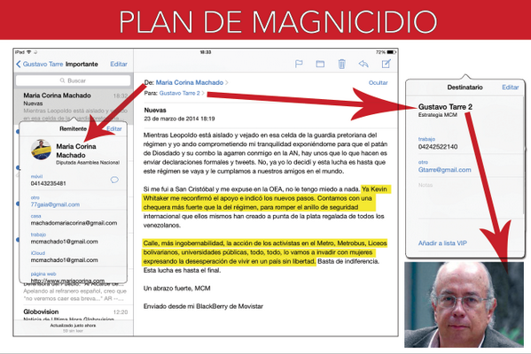 Email from Maria Corina Machado linking US officials to the destabilisation plan
