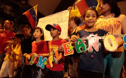 Revolutionaries celebrate the 60th birthday of Hugo Chavez