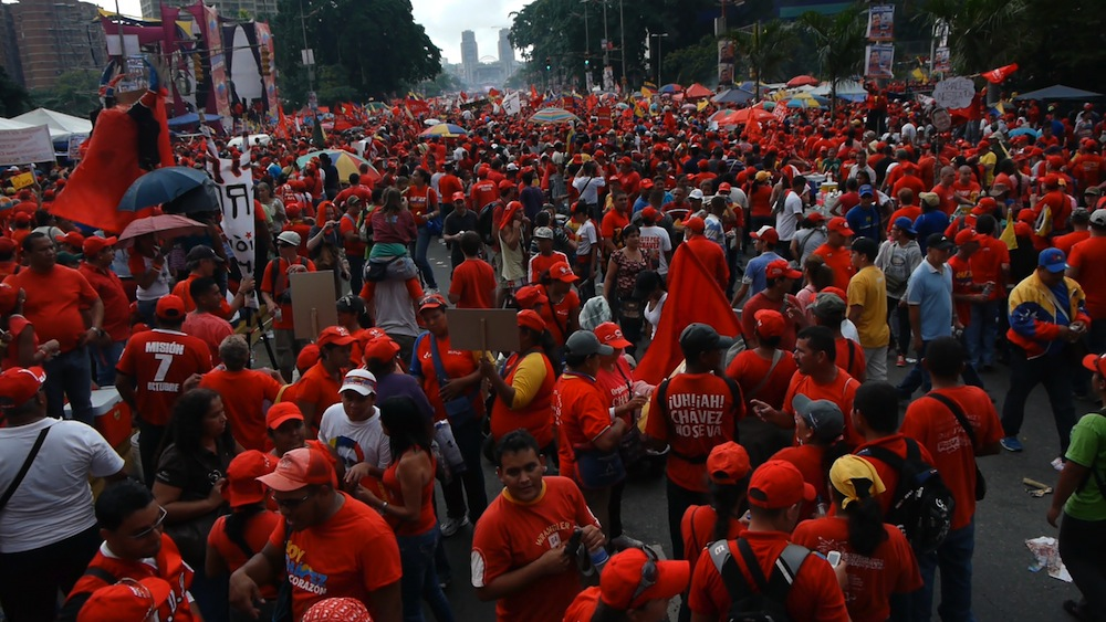 Streets of Caracas lined with Chavez supporters
