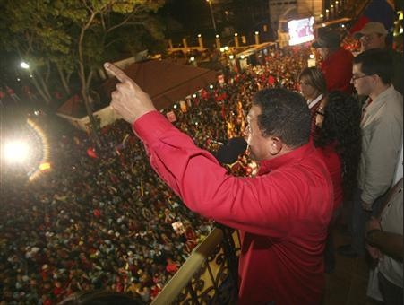 Hugo Chavez celebrates at Miraflores Palace in Caracas February 15, 2009.