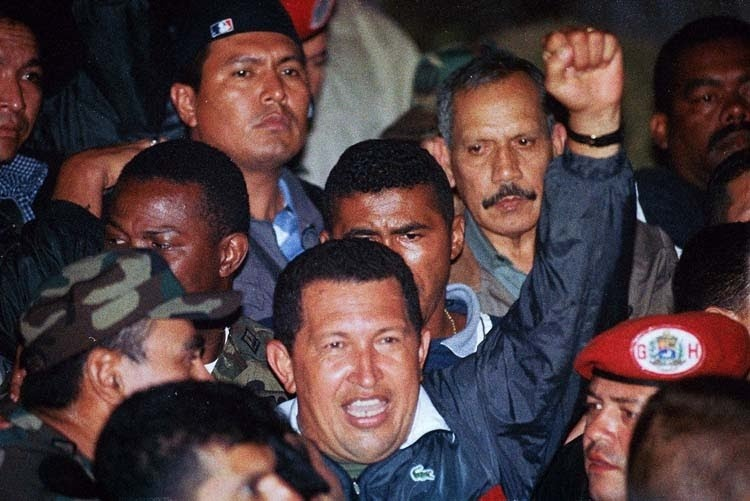 Hugo Chavez returns after the defeat of the US-backed 2002 coup